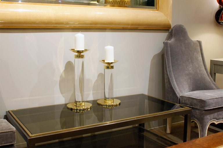 Late 20th Century Karl Springer Pair of Candleholders in Lucite and Brass, 1970s For Sale