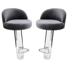 Karl Springer Pair of Cantilevered Stainless Steel Bar Stools, 1980s