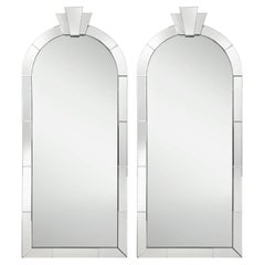 """Karl Springer Pair of """"Dome Top Art Deco Mirrors"""" with Up Lights, 1980s"""