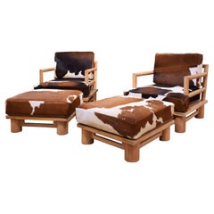 """Karl Springer Pair of """"Dowelwood Armchairs and Ottomans"""", 1980s"""