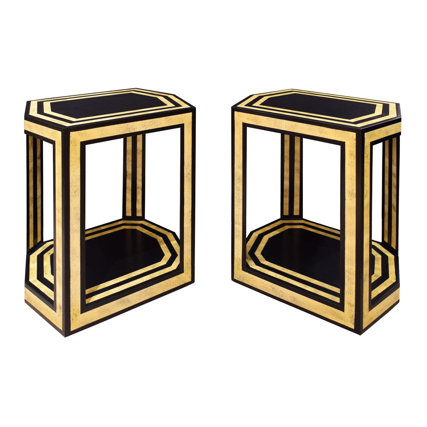 Karl Springer Pair of End Tables in Black and Bone Lacquer, 1970s