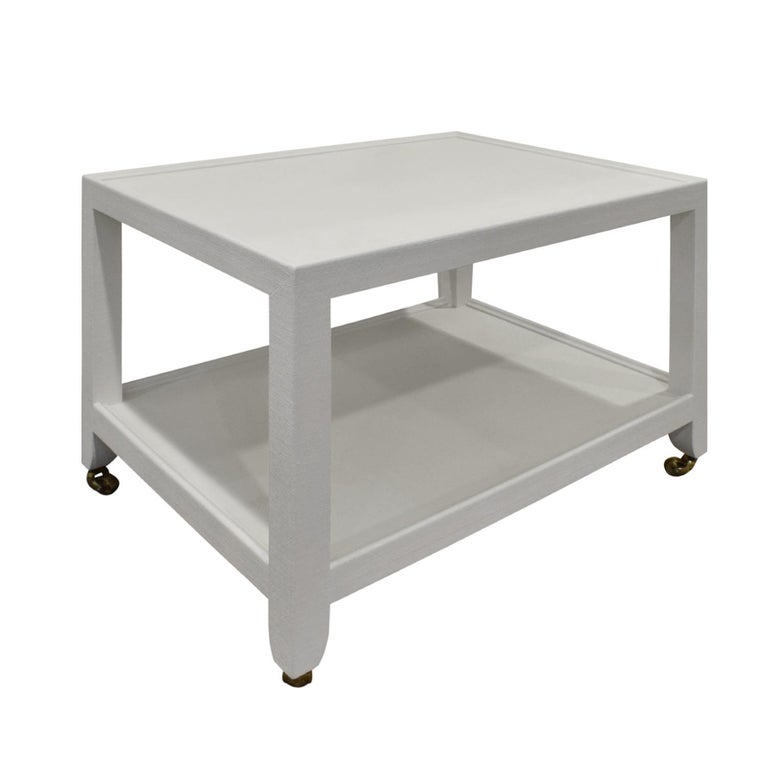 Modern Karl Springer Pair of End Tables in Lacquered Linen, ca 2000 'Signed'
