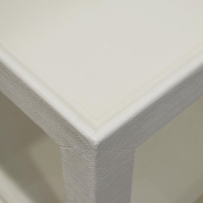Hand-Crafted Karl Springer Pair of End Tables in Lacquered Linen, ca 2000 'Signed'