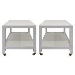 Karl Springer Pair of End Tables in Lacquered Linen, ca 2000 'Signed'