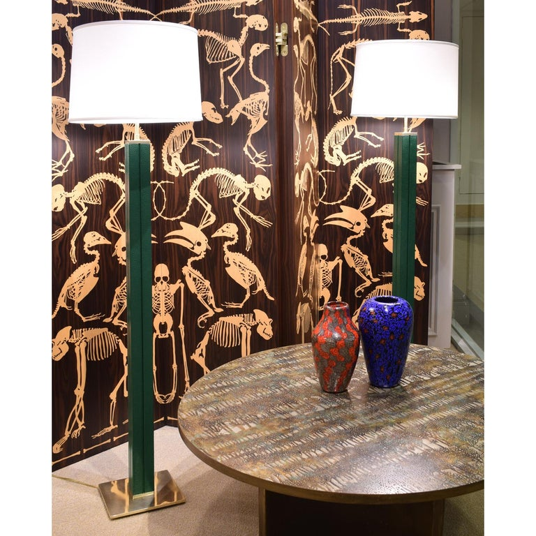 Karl Springer Pair of Floor Lamps in Green Emu Leather 1970s In Excellent Condition For Sale In New York, NY