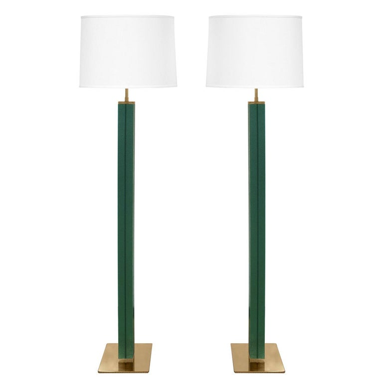 Karl Springer Pair of Floor Lamps in Green Emu Leather 1970s For Sale