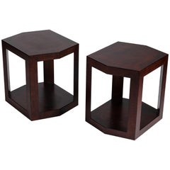 Karl Springer, Pair of Hexagonal Side Tables, United States, circa 1988