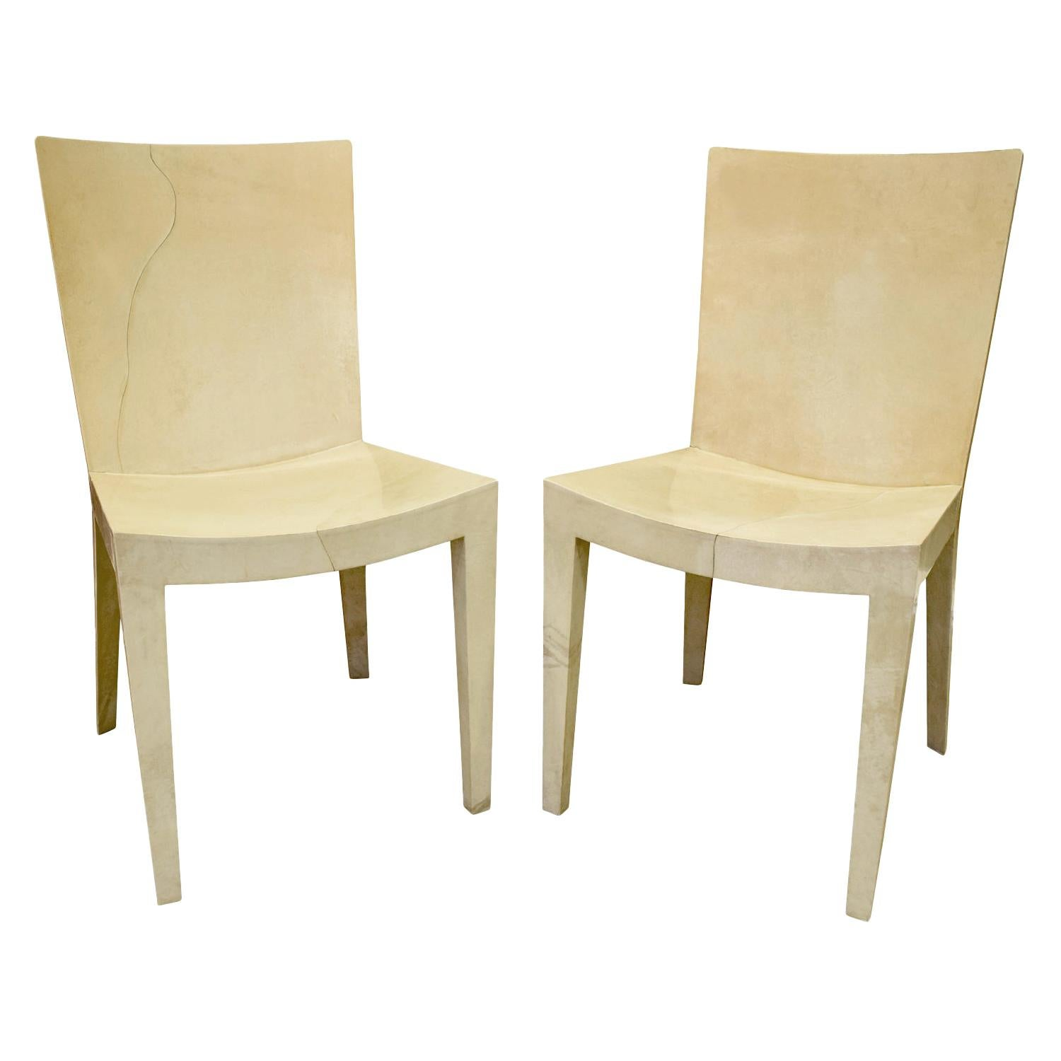 Karl Springer Pair of JMF Chairs in Lacquered Goatskin, 1970s