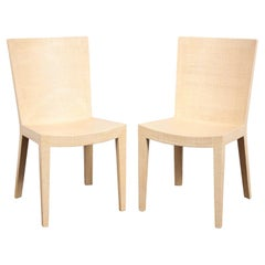 """Karl Springer Pair of """"JMF Chairs"""" in Lacquered Raffia 1993 'Signed'"""