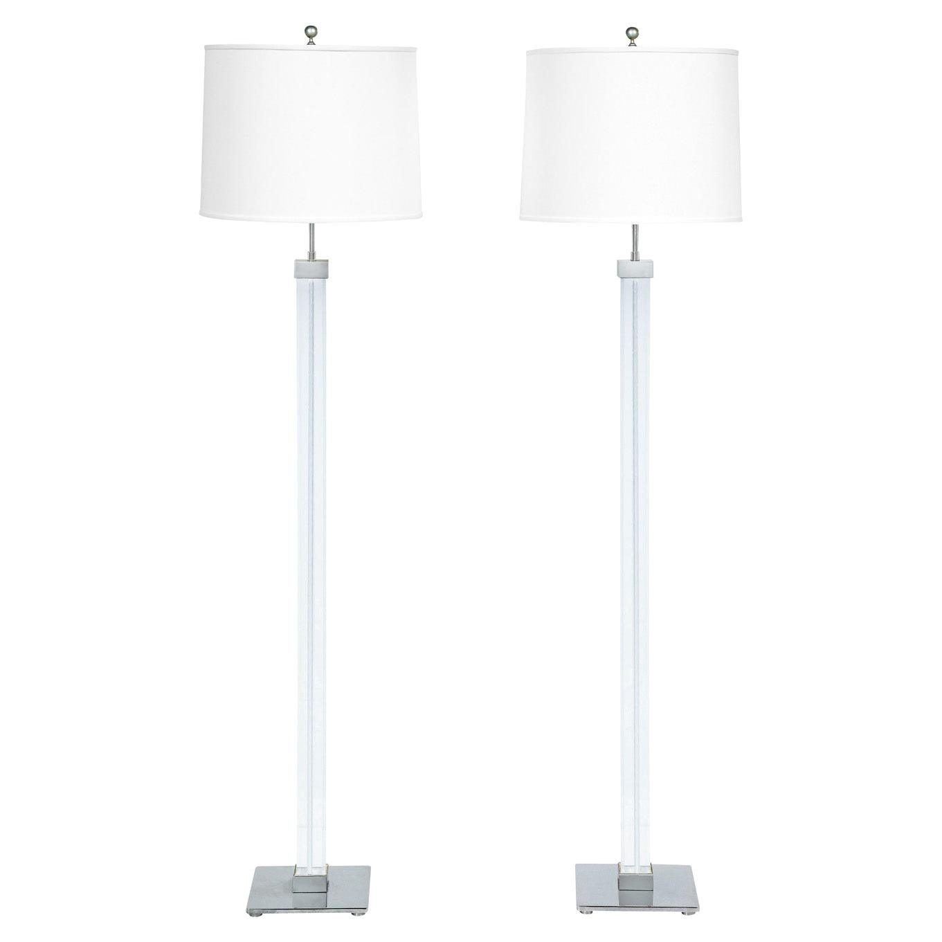 Karl Springer Pair of Lucite and Chrome Floor Lamps 1970s