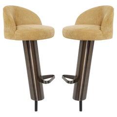 "Karl Springer Pair of ""Mushroom Bar Stools"" in Embossed Ostrich Leather 1980s"