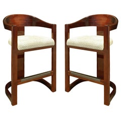 """Karl Springer Pair of """"Onassis Bar Stools"""" in Lacquered Mahogany, 1970s"""
