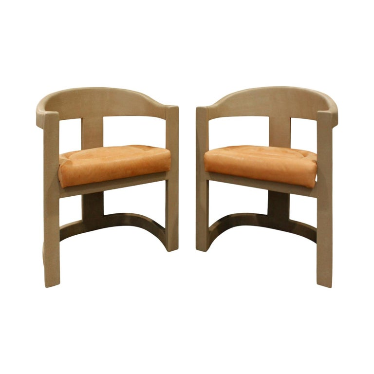 Karl Springer Pair of Onassis Chairs in Embossed Lizard 1994 'Signed' For Sale
