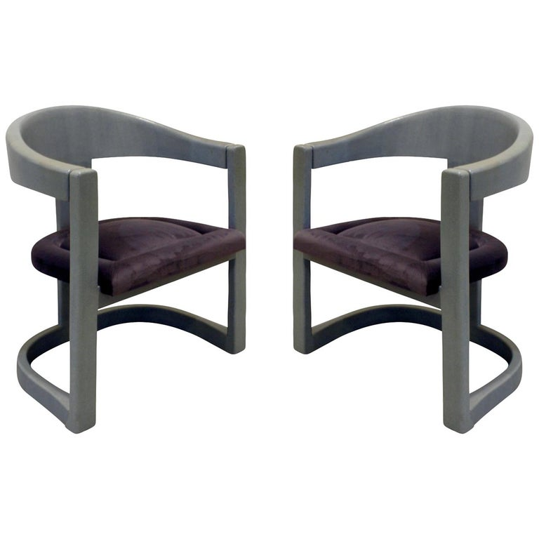 """Karl Springer Pair of """"Onassis Chairs"""" in Embossed Reptile Leather, 1970s For Sale"""