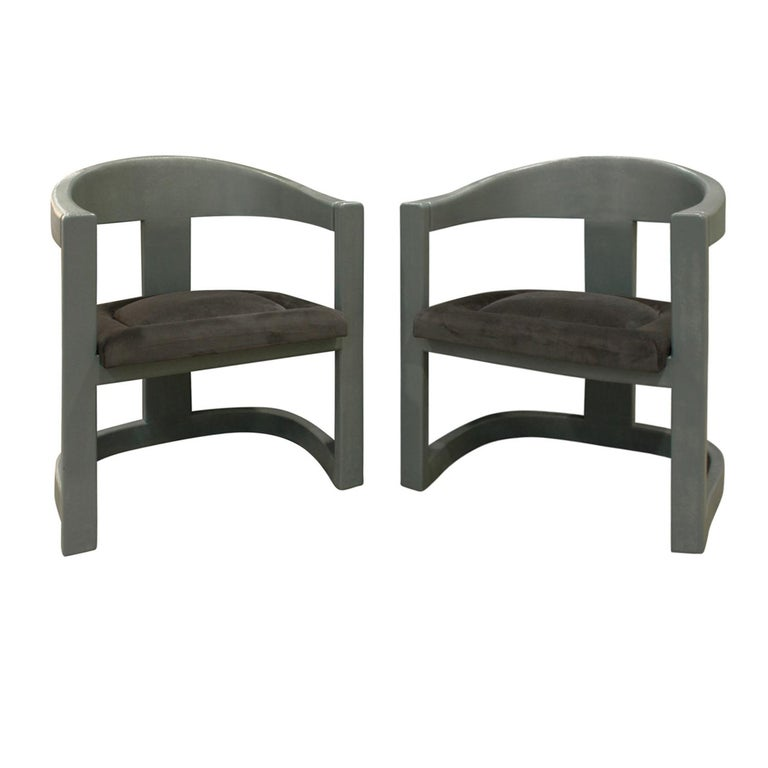Karl Springer embossed reptile-leather Onassis Chairs, 1970s, offered by Lobel Modern, Inc