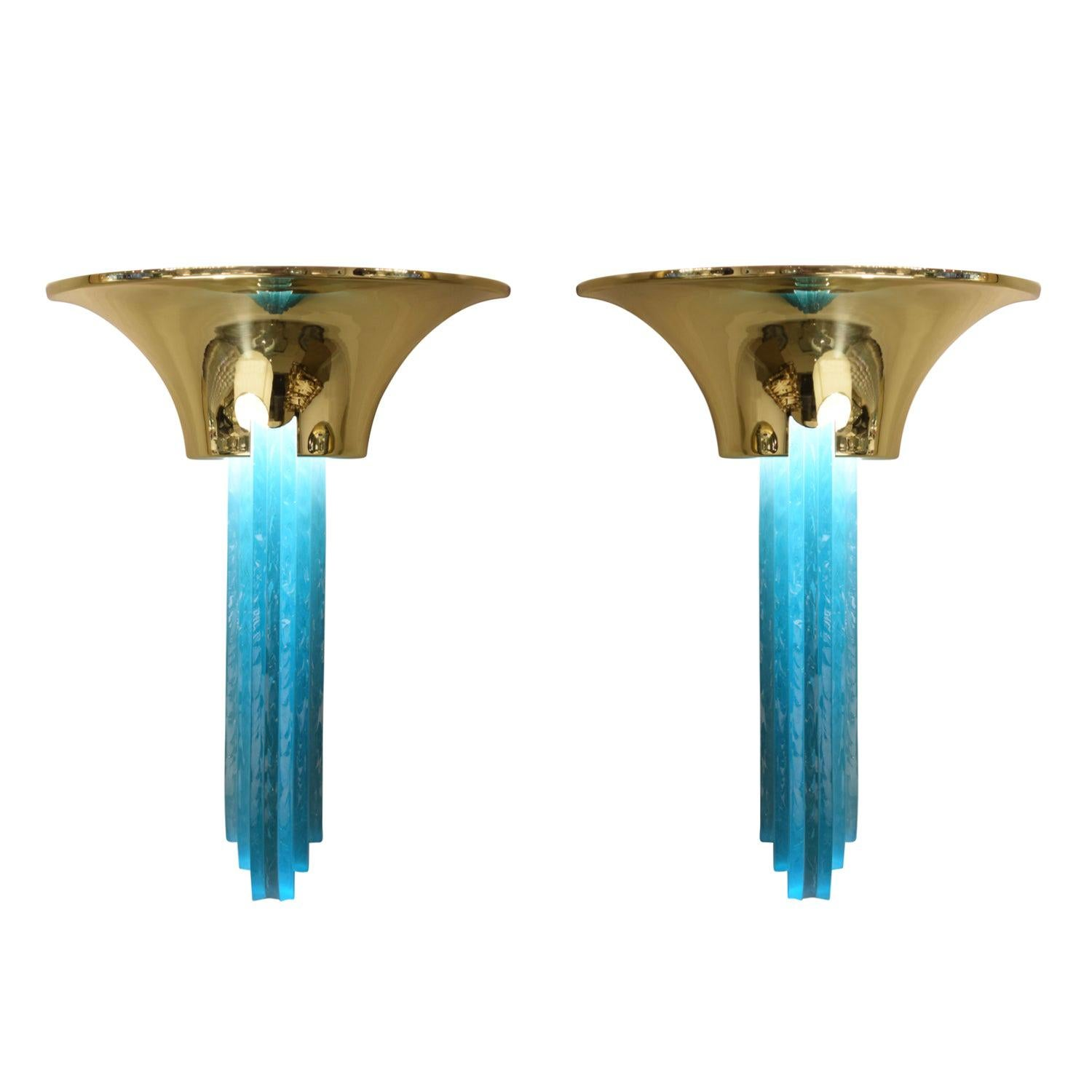 """Karl Springer Pair of """"Purcell Sconces"""" in Brass with Hand-Chipped Glass, 1980s"""