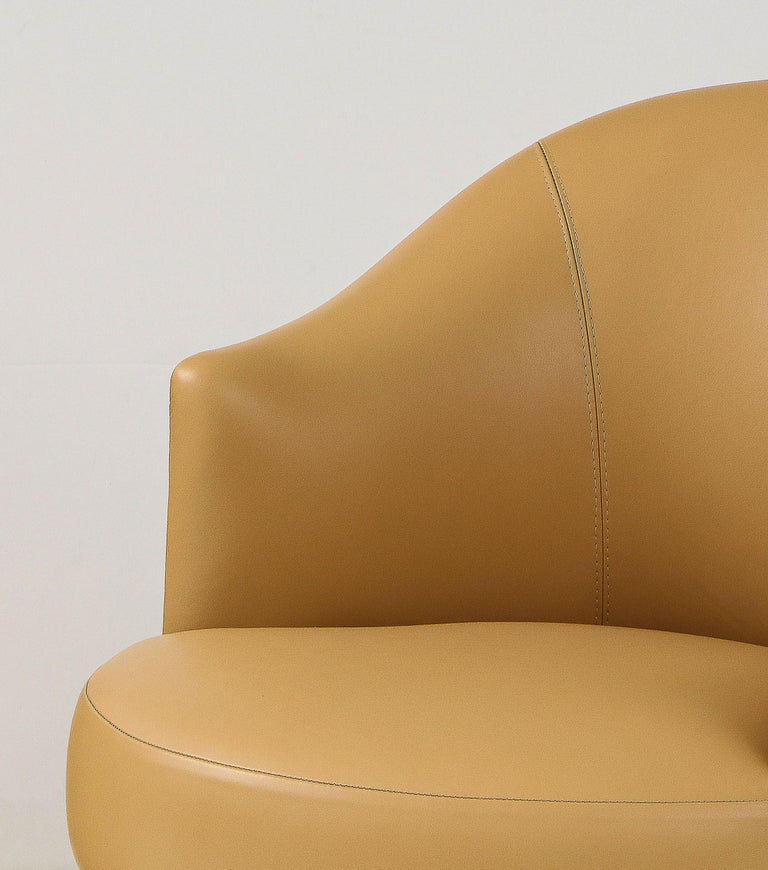 Karl Springer Pair of Swivel Chairs in Camel Edelman Leather and Brass, 1980s For Sale 4