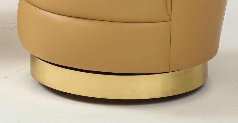Karl Springer Pair of Swivel Chairs in Camel Edelman Leather and Brass, 1980s For Sale 5