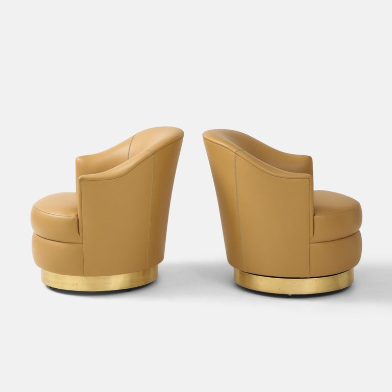 Karl Springer Pair of Swivel Chairs in Camel Edelman Leather and Brass, 1980s For Sale 2