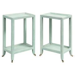 """Karl Springer Pair of """"Telephone Style Tables"""" in Mint Shagreen 2002 'Signed'"""