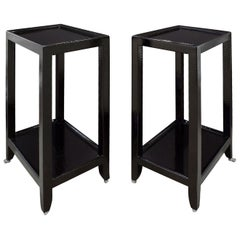 Karl Springer Pair of Telephone Tables in Lacquered Black Cobra 1990s 'Signed'