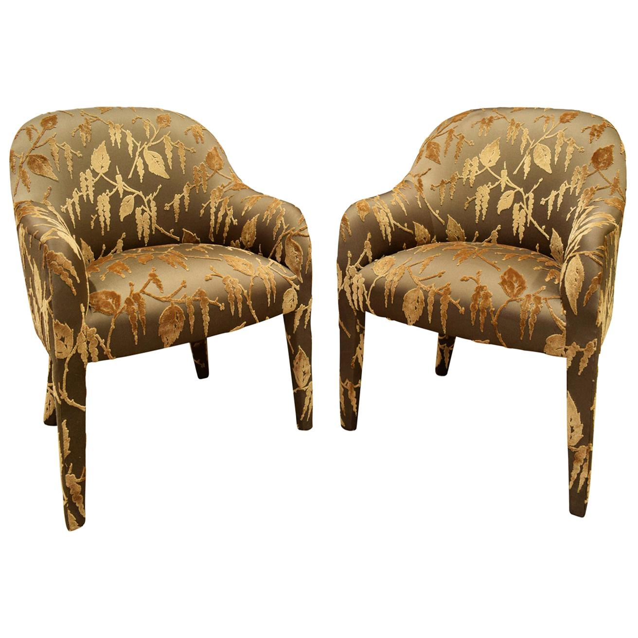 "Karl Springer Pair of ""Upholstered Chairs"", 1980s"
