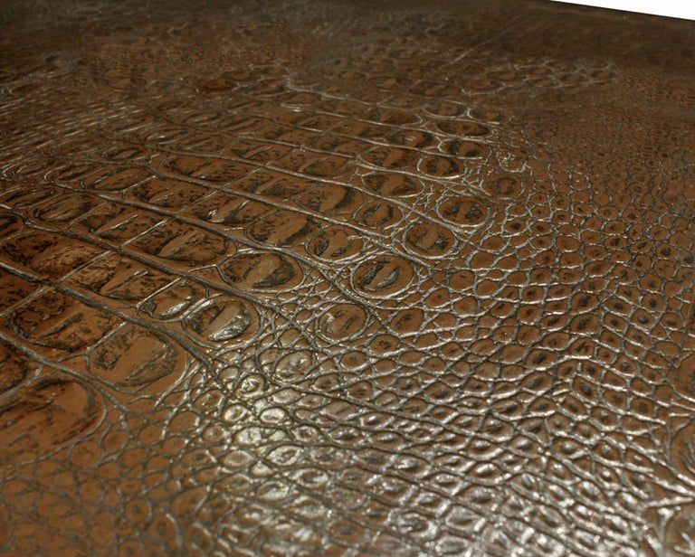 Karl Springer Parsons Style End Tables In Embossed Crocodile Leather 1970s In Excellent Condition For Sale In New York, NY