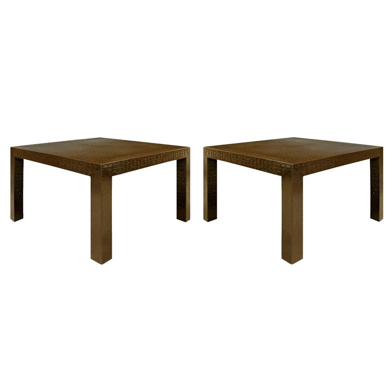 Karl Springer Parsons Style End Tables In Embossed Crocodile Leather 1970s For Sale