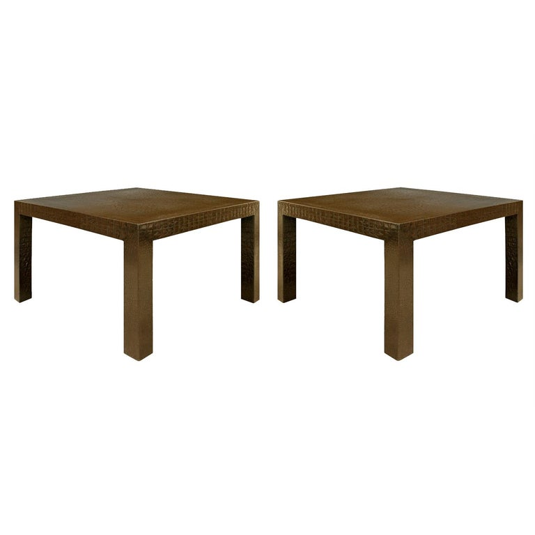 Pair of large parsons style end tables covered in dark brown embossed crocodile leather by Karl Springer, American 1970's. The meticulous craftsmanship and scale of these tables make them special.