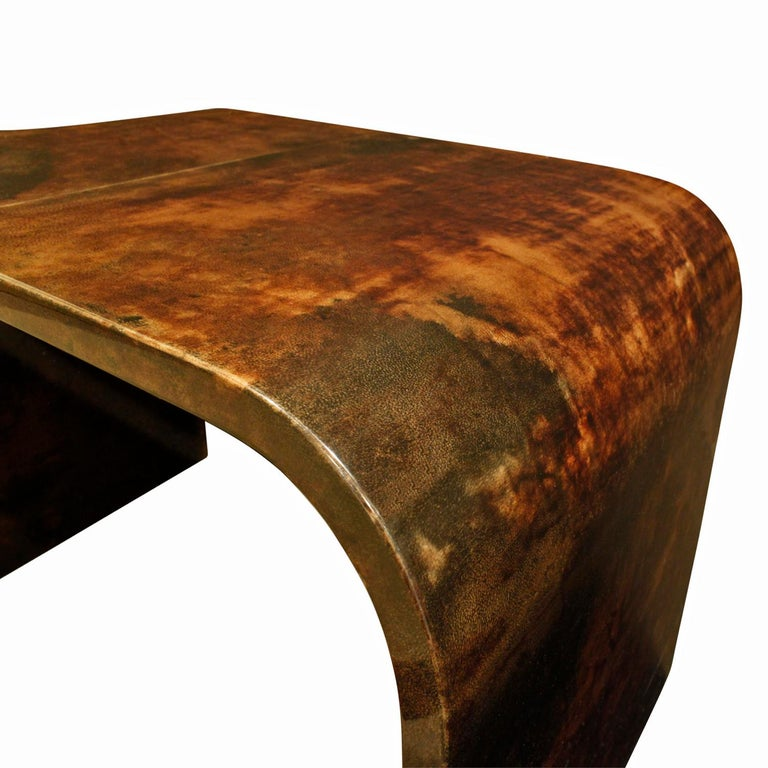 American Karl Springer Petit Coffee Table in Lacquered Goatskin, 1970s For Sale