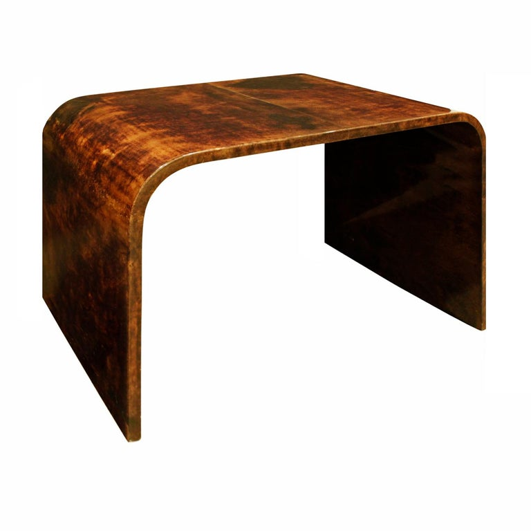 Karl Springer Petit Coffee Table in Lacquered Goatskin, 1970s For Sale