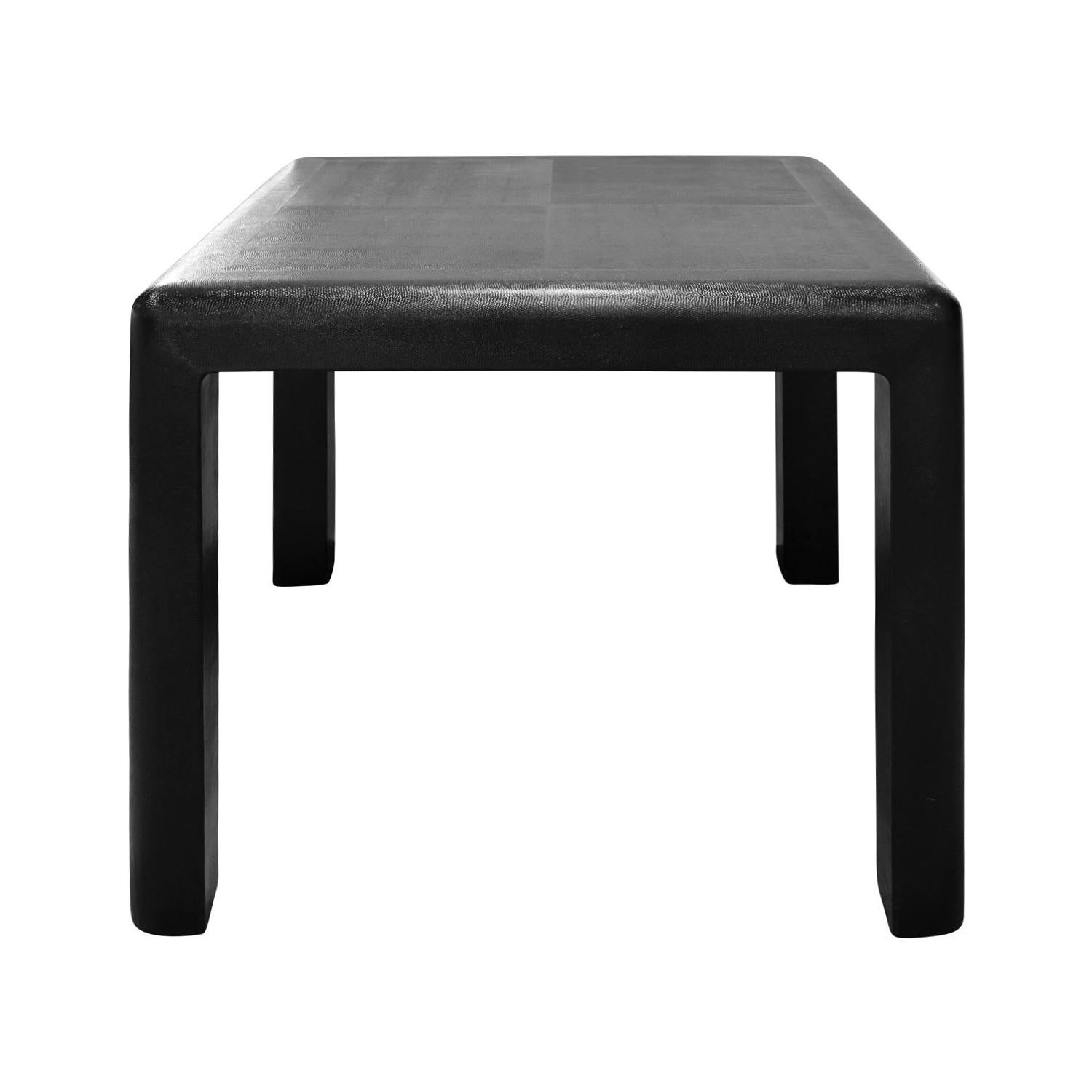Karl Springer Petit Game Table in Embossed Lizard Leather, 1987, 'Signed'