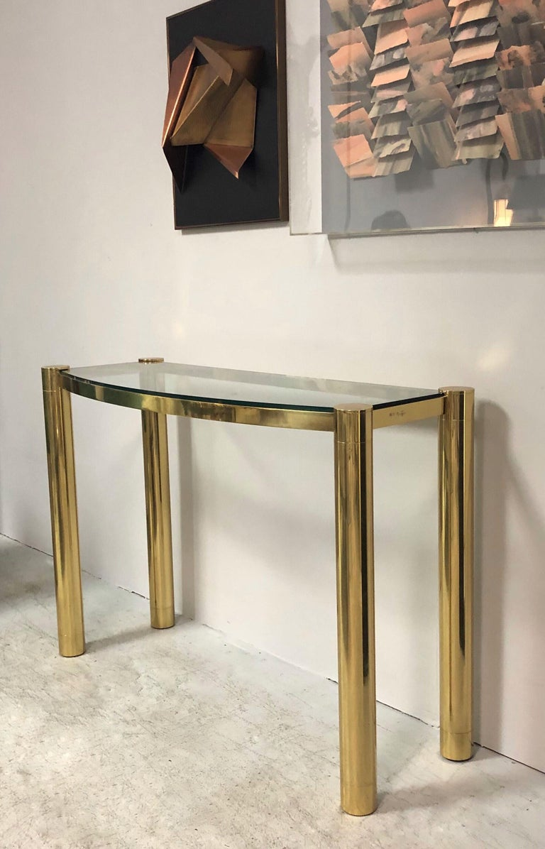 Karl Springer Polished Bronze Console Table In Good Condition For Sale In Miami, FL