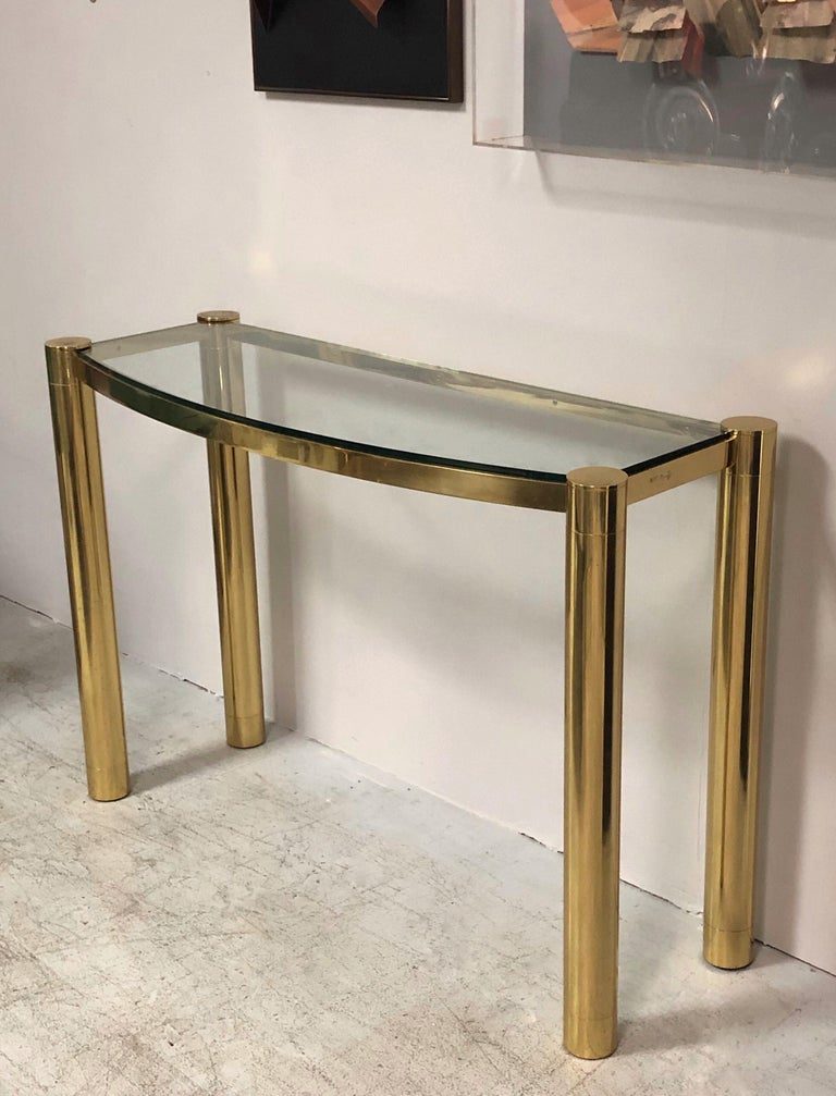 Late 20th Century Karl Springer Polished Bronze Console Table For Sale