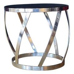 Karl Springer Polished Steel and Glass Table