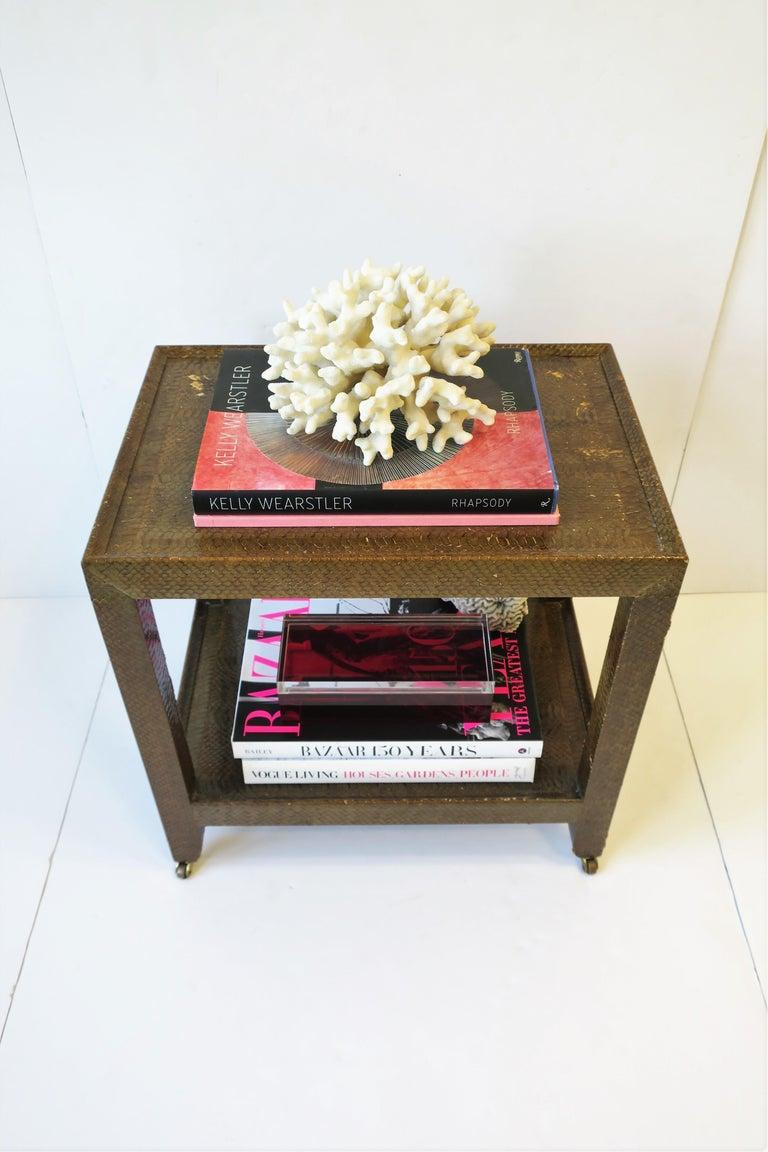 Karl Springer Postmodern Snakeskin and Brass Telephone Side or End Table, 1990 For Sale 5