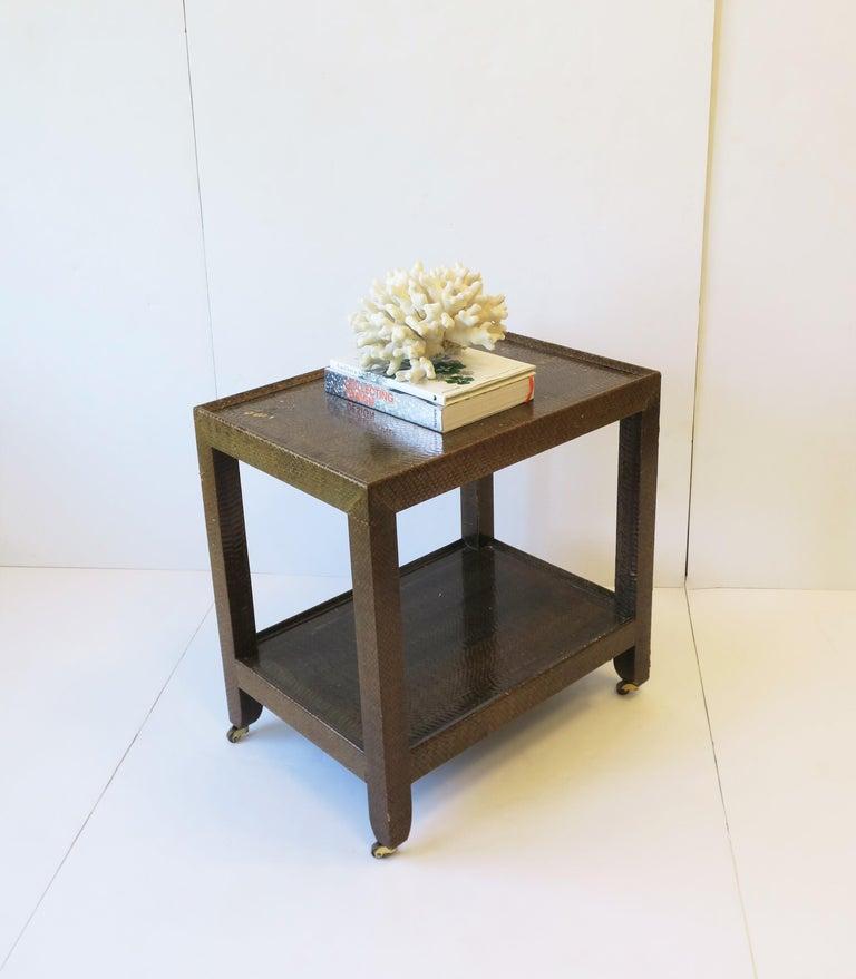 Post-Modern Karl Springer Postmodern Snakeskin and Brass Telephone Side or End Table, 1990 For Sale