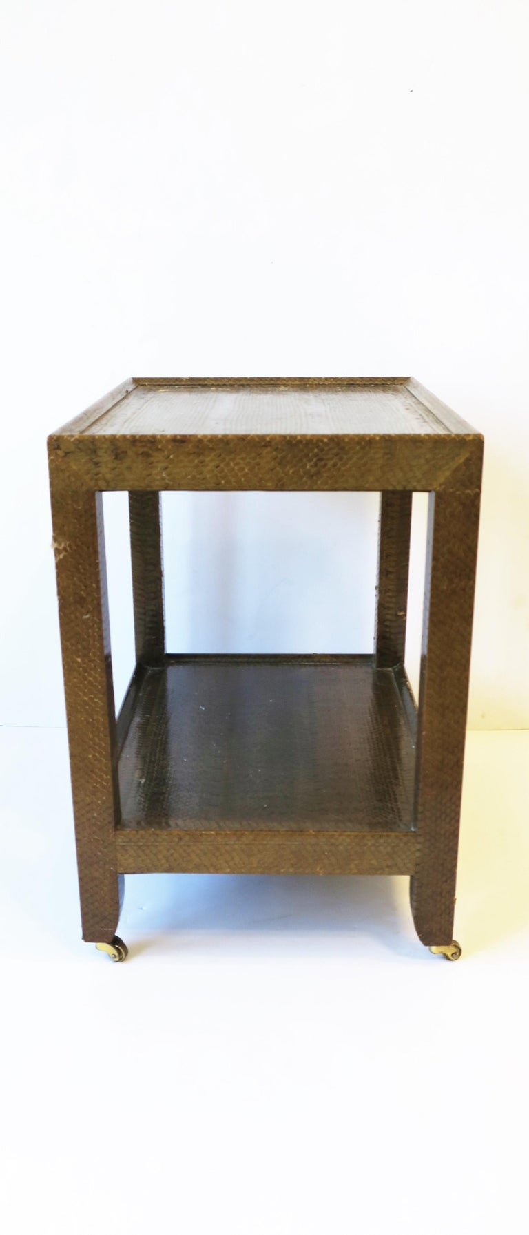 Late 20th Century Karl Springer Postmodern Snakeskin and Brass Telephone Side or End Table, 1990 For Sale