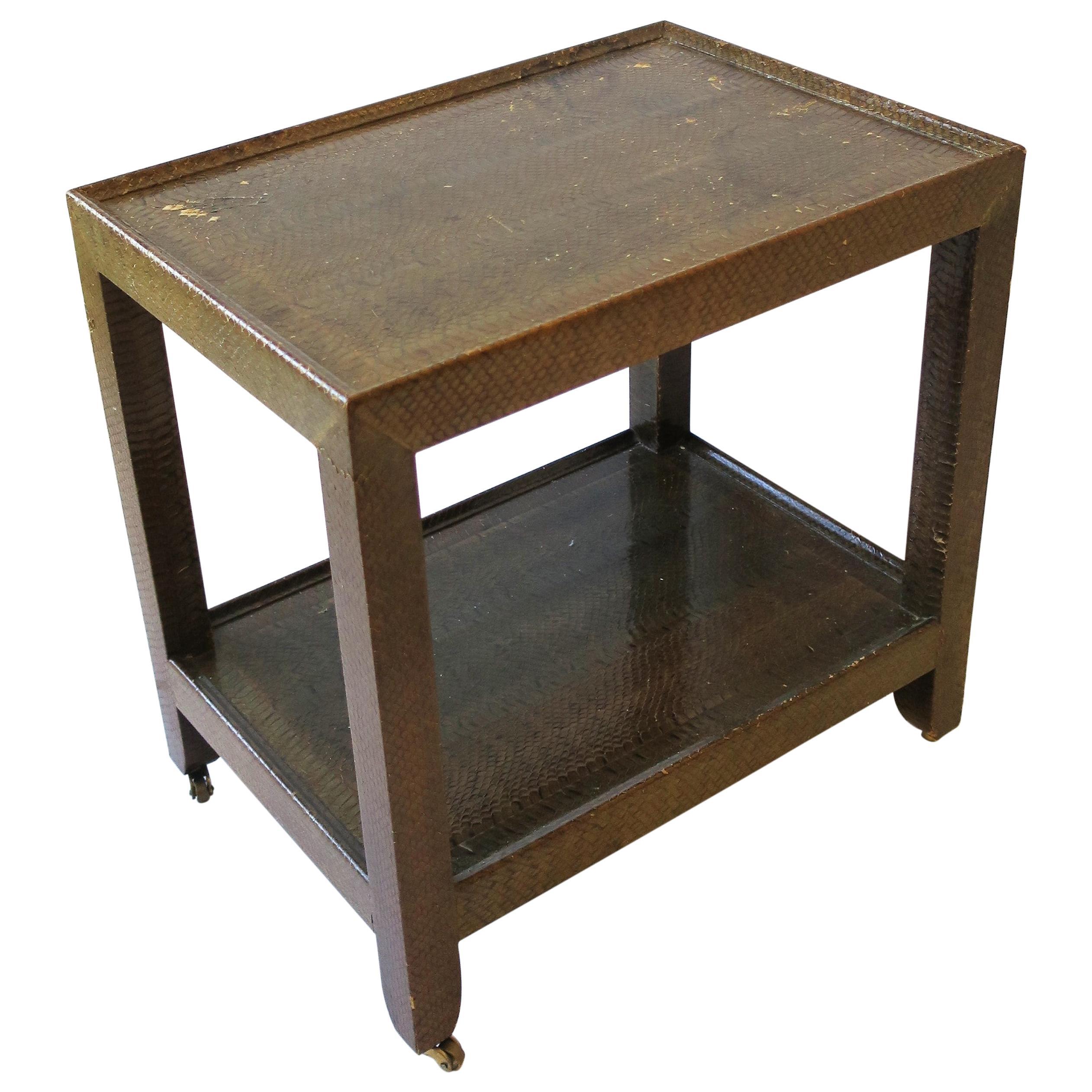 Karl Springer Postmodern Snakeskin and Brass Telephone Side or End Table, 1990