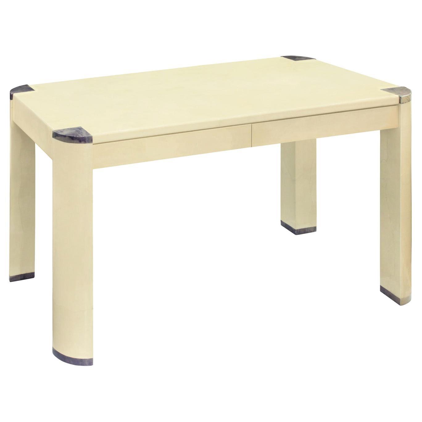 """Karl Springer """"Angular Leg Writing Desk"""" in Lacquered Goatskin, 1970s"""
