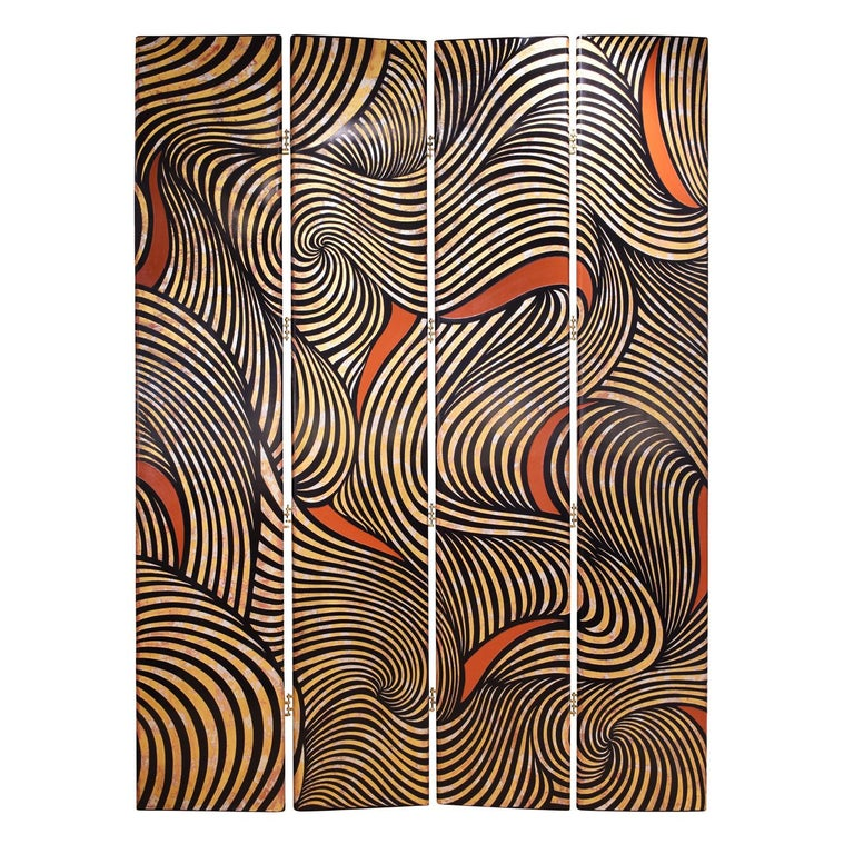 Hand-Crafted Karl Springer Rare 4-Panel