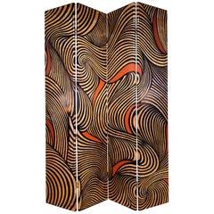 "Karl Springer Rare 4-Panel ""Coromandel Screen"", 1986"