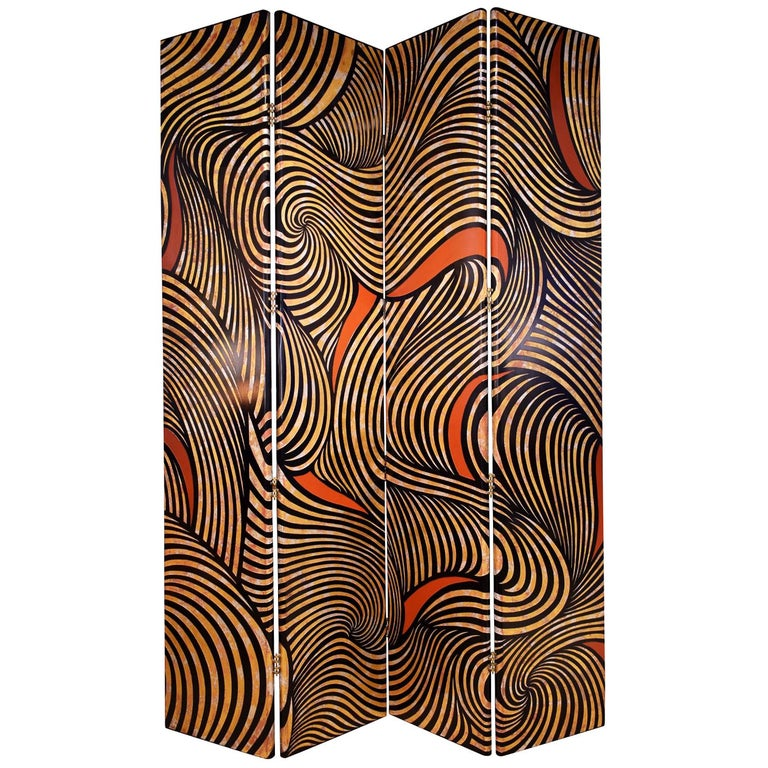"Karl Springer Rare 4-Panel ""Coromandel Screen"", 1986 For Sale"