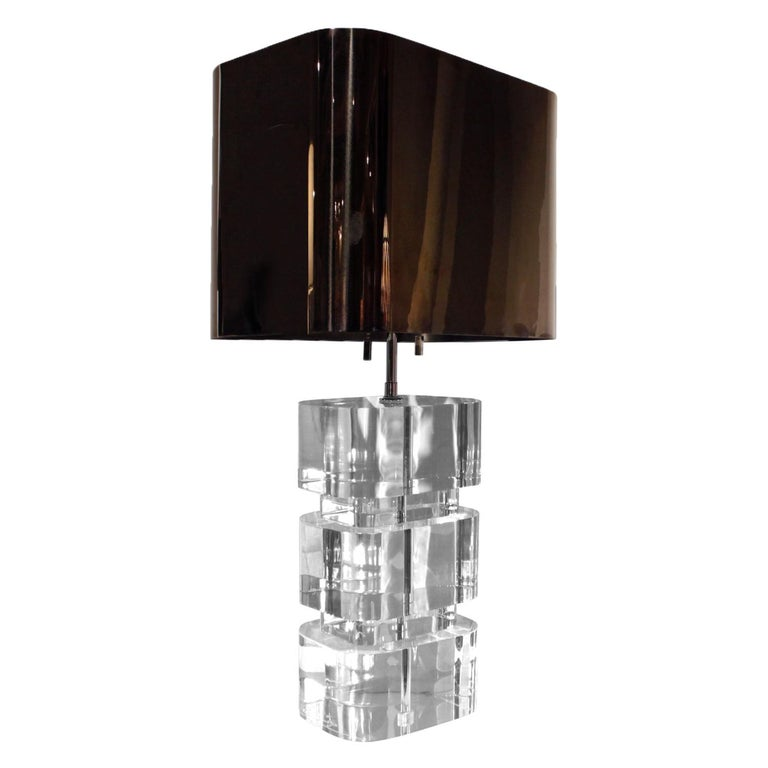 Pair of rare and exceptional solid Lucite block table lamps with gunmetal shades by Karl Springer, American 1980s (signed in Lucite