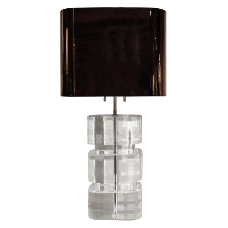Mid-Century Modern Karl Springer Rare and Exceptional Pair of Lucite Table Lamps 1980s 'Signed' For Sale