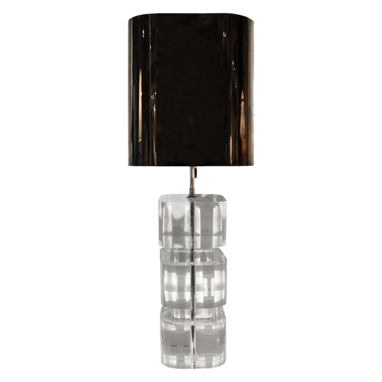 American Karl Springer Rare and Exceptional Pair of Lucite Table Lamps 1980s 'Signed' For Sale
