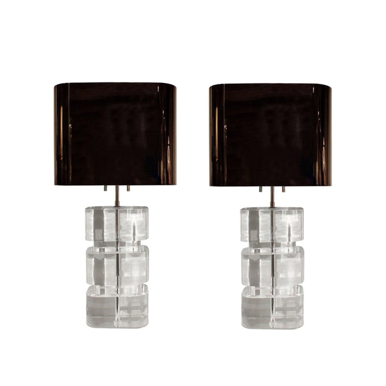 Karl Springer Rare and Exceptional Pair of Lucite Table Lamps 1980s 'Signed' For Sale