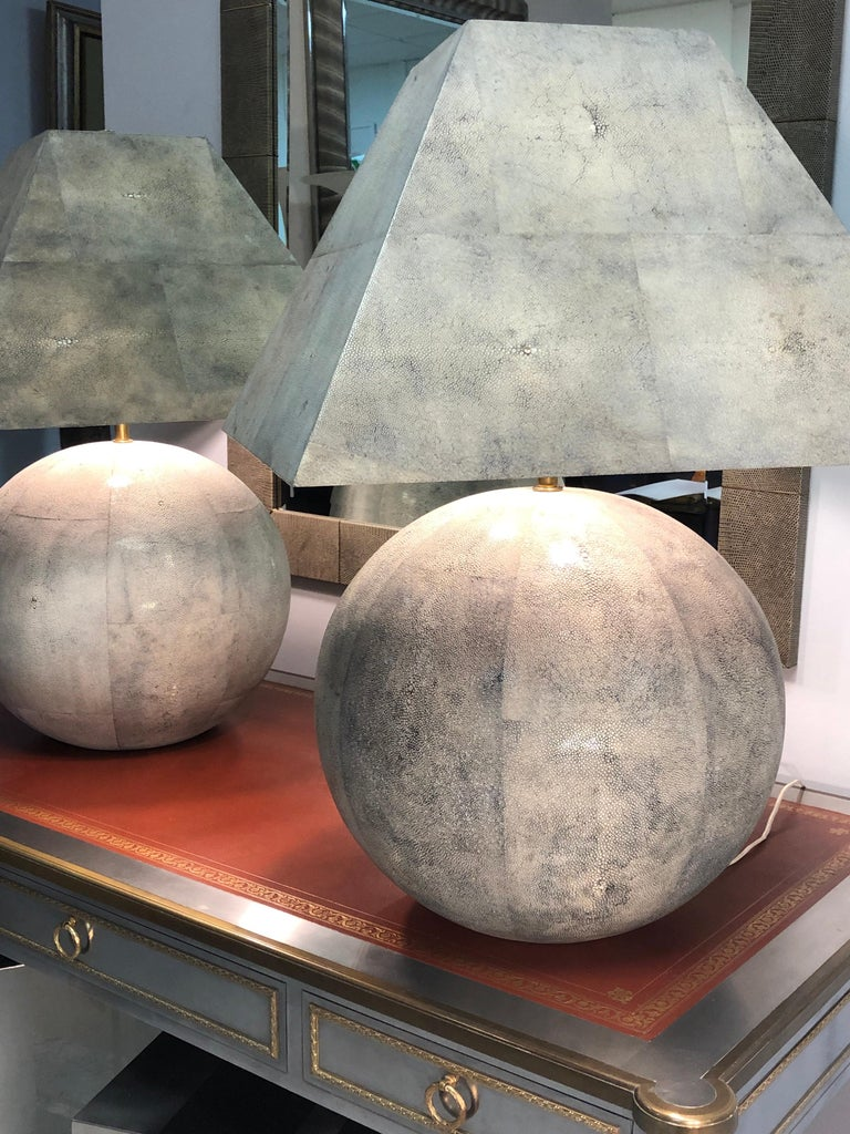 American Karl Springer Rare and Monumental Shagreen Pair of Table Lamps For Sale