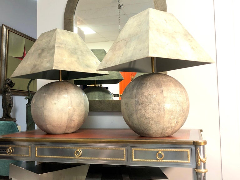 Late 20th Century Karl Springer Rare and Monumental Shagreen Pair of Table Lamps For Sale