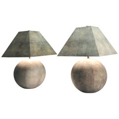 Karl Springer Rare and Monumental Shagreen Pair of Table Lamps
